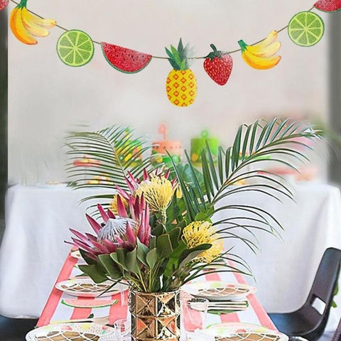 Colorful Paper Fruit Happy Birthday Party Banner Garland for Birthday Party Supplies