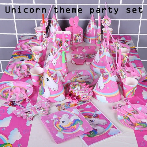 Unicorn Theme Cartoon Party Set Balloon Tableware Plate Napkins Banner Birthday Candy Box Baby Shower Party Decoration