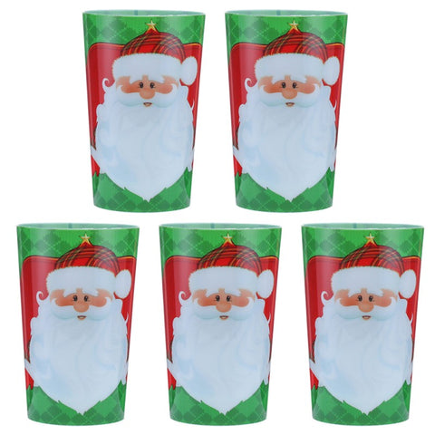 5pcs Christmas Plastic Cups Drinking Cup Christmas Holiday Party Tableware and Party Supplies (Santa Claus)