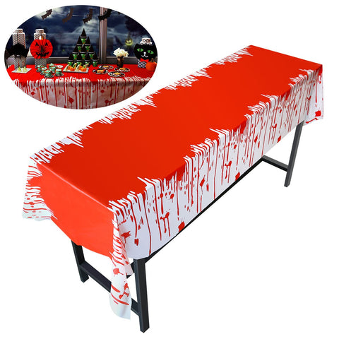 PBPBOX Scary Bloody Tablecloth Blood Drip Zombie Table Cover for Halloween 274 * 137 CM