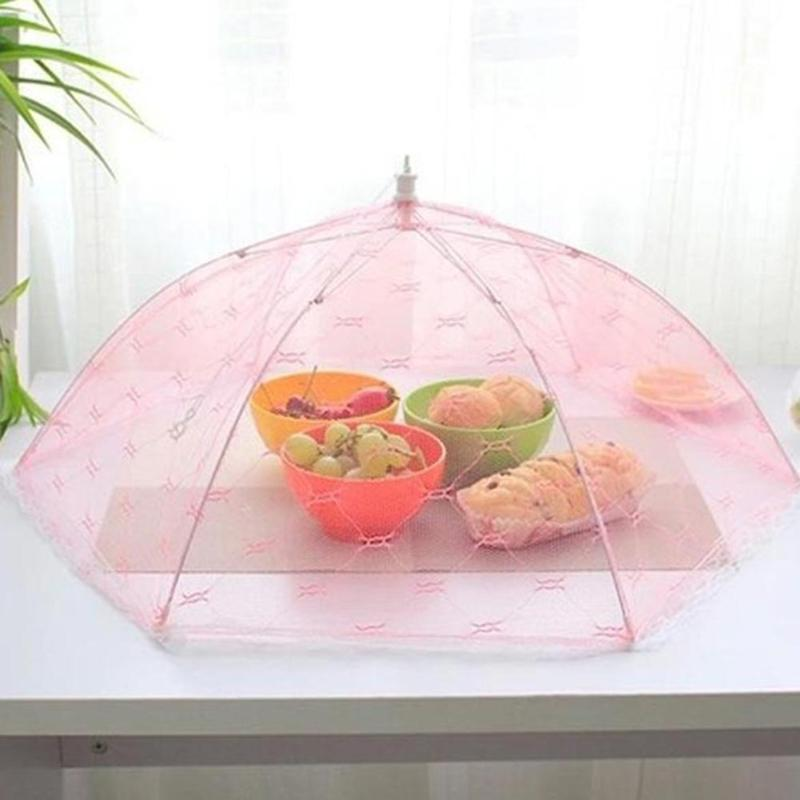 35/40cm Gauze Umbrella Food Cover Picnic Kitchen Anti Fly Mosquito Net Table Tent Meal Cover Mesh Food Cover Kitchen Accessories