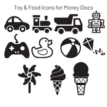 Load image into Gallery viewer, Add-On Toy & Food MoneyDiscs - Money Cubez MoneyCubez Customizable Kids Bank