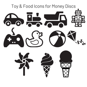 Add-On Toy & Food MoneyDiscs - Money Cubez MoneyCubez Customizable Kids Bank