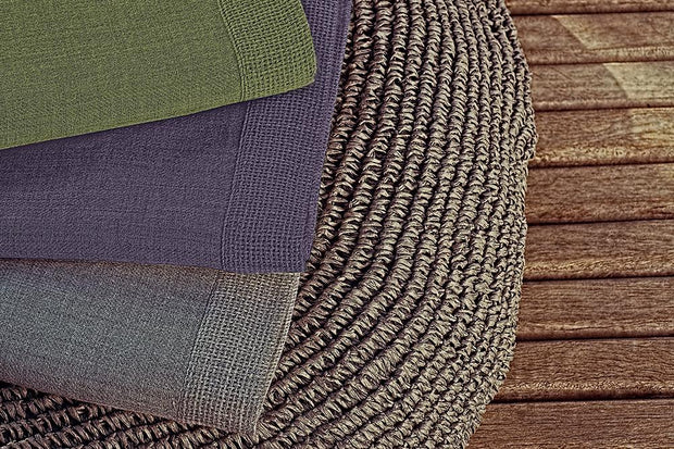 Madison Collection Baby Alpaca Throw folded grey, green and purple