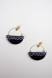 Ginkgo Earrings in Black Squiggle