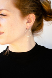 Gold Circle Bar Earrings