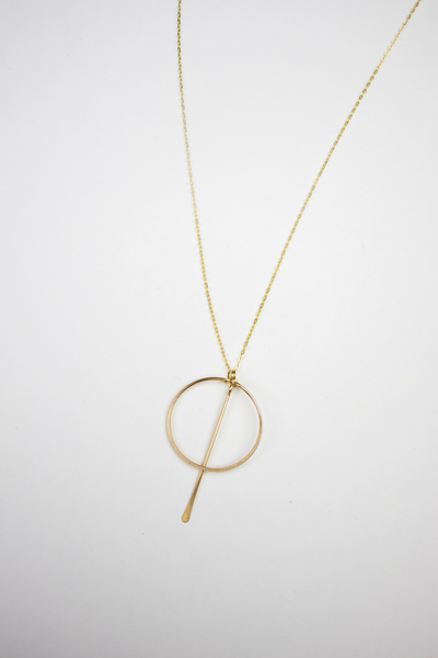 Gold Circle Bar Necklace