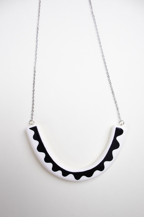 Double Sided Spruce Necklace in White