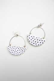 Ginkgo Earrings in White Polka Dot