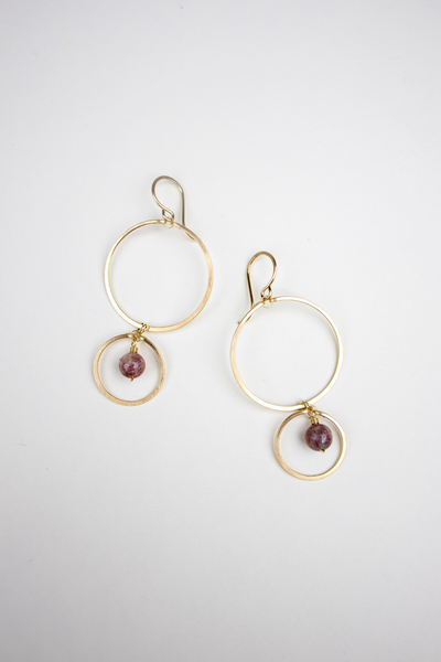 Double Circle Quartz Drop Earrings