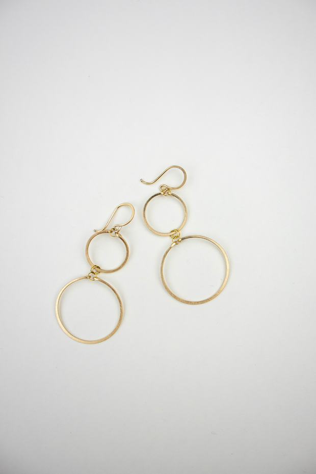 Gold Double Circle Earrings