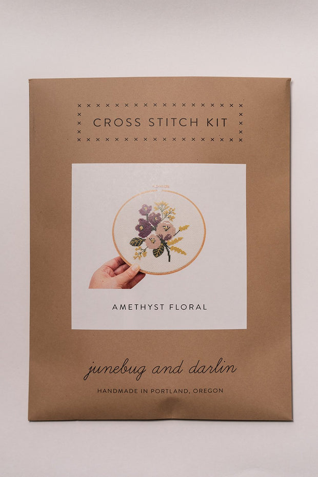 Junebug and Darlin Amethyst Floral Cross Stitch Kit in package
