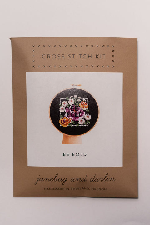 Junebug and Darlin Be Bold Cross Stitch Kit in package