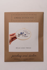 Junebug and Darlin Bold and Fresh Cross Stitch Kit in package