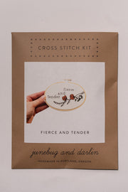 Junebug and Darlin Fierce and Tender Cross Stitch Kit in package