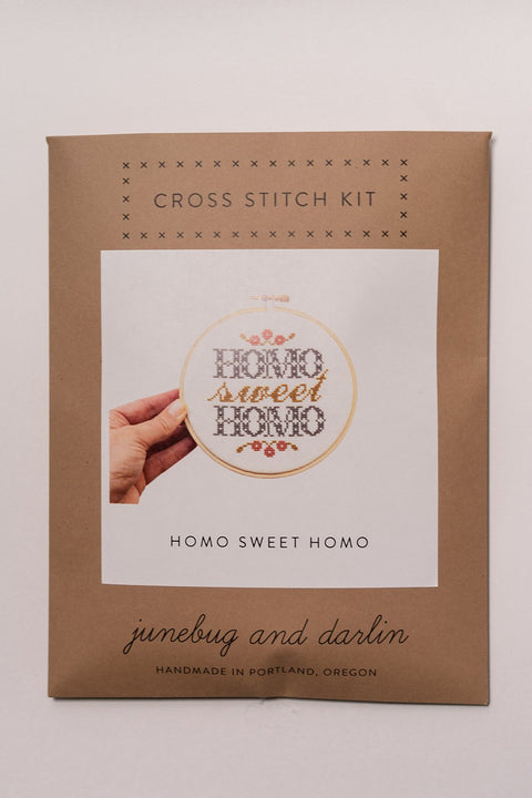 Junebug and darlin Homo Sweet Homo Cross Stitch Kit in package, front