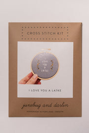 Junebug and Darlin I Love You a Latke Cross Stitch Kit in package