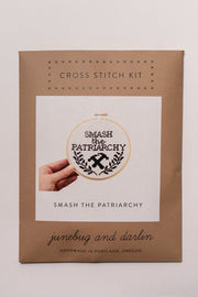 Junebug and Darlin Smash the Patriarchy Cross Stitch Kit in package, front
