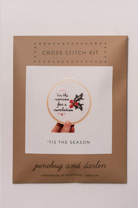 Junebug and Darlin Tis the Season For a Revolution Cross Stitch Kit in package