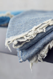 Madison Collection Merino Italian Throw Blue folded