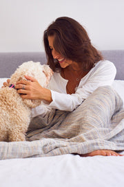 Madison Colleciton Printed Yarn Blanket woman and dog