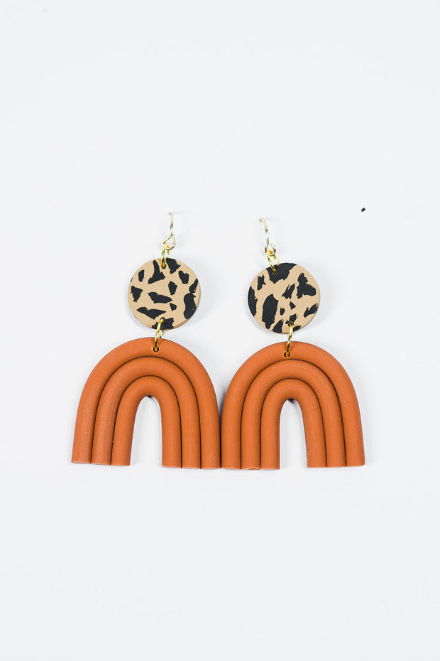 Esmé Earrings in Leopard & Terracotta