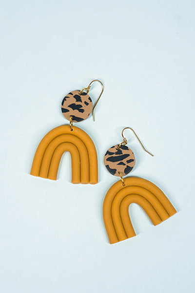 Esmé Earrings in Leopard & Dijon