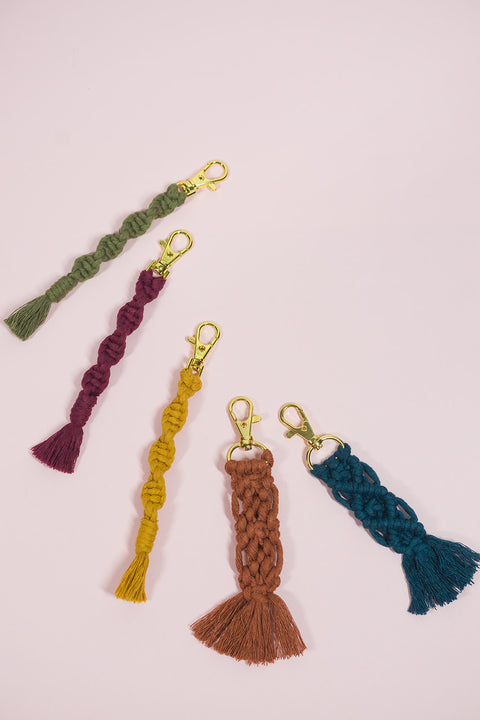 Mustard Color Twist Macramé Keychain