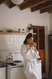 Madison Collection Borado Shawl Bath Robe on model in kitchen