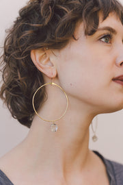PHD Herkimer Diamond Hoop Earrings on model