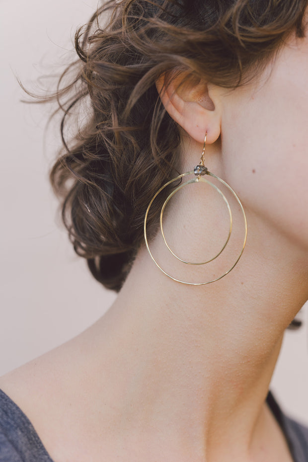 PHD Double Hoop Earrings on model
