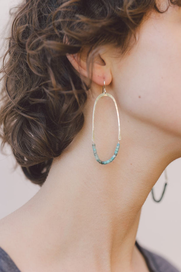 PHD Turquoise Half Oval Earrings on model
