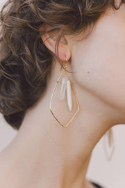 PHD Brass Quartz Howlite Shield Earrings on model