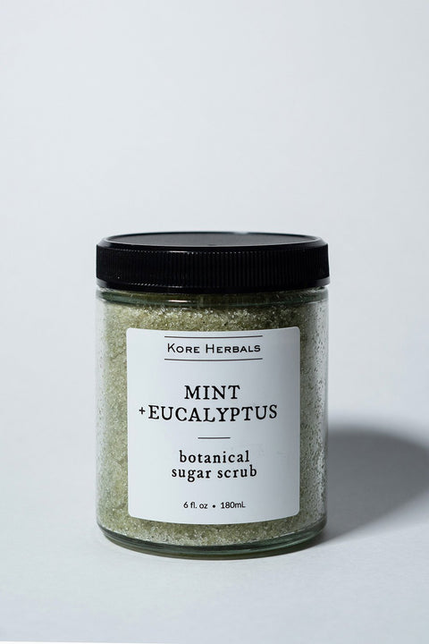 Kore Herbals Mint + Eucalyptus Botanical Sugar Scrub on white background Front