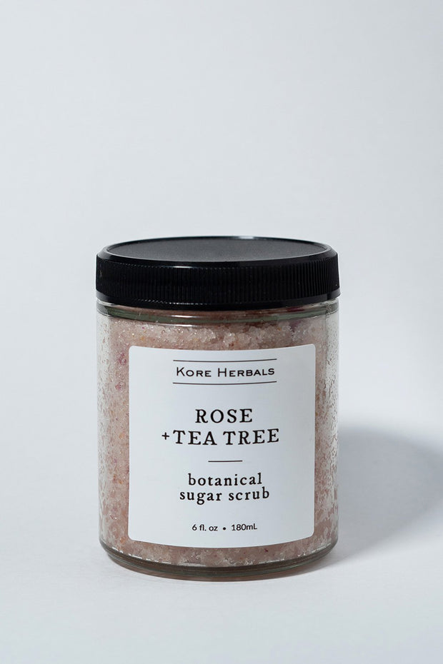 kore herbals Rose + Tea Tree Botanical Sugar Scrub on white backdrop front
