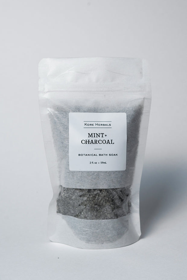 kore herbals Mint + Charcoal Botanical Bath Soak on white front