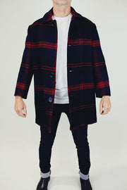 men's vintage long wool pendleton jacket in navy and red plaid print with collar and buttons up front