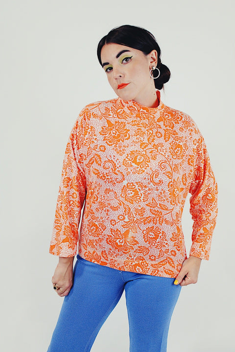 orange vintage printed mock neck top