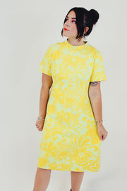 yellow vintage short sleeve mini dress front