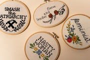 Junebug and Darlin Smash the Patriarchy with other Cross Stitch Kits