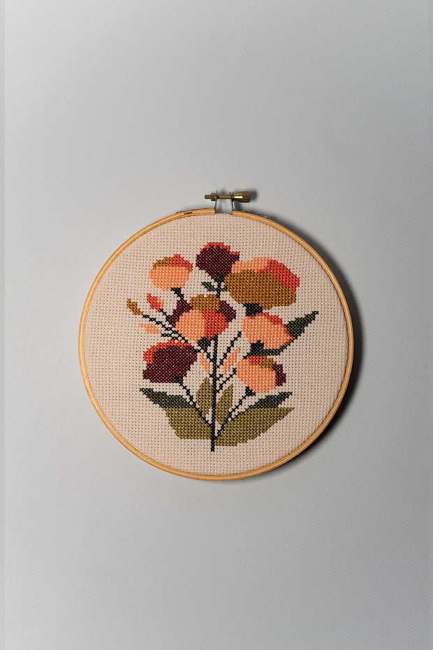 Junebug and Darlin Coral Floral Cross Stitch Kit on color