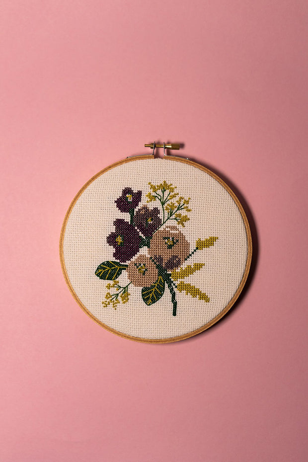 Junebug and Darlin Amethyst Floral Cross Stitch Kit on color