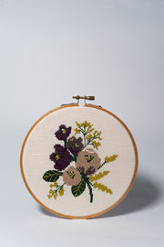 Junebug and Darlin Amethyst Floral Cross Stitch Kit on white