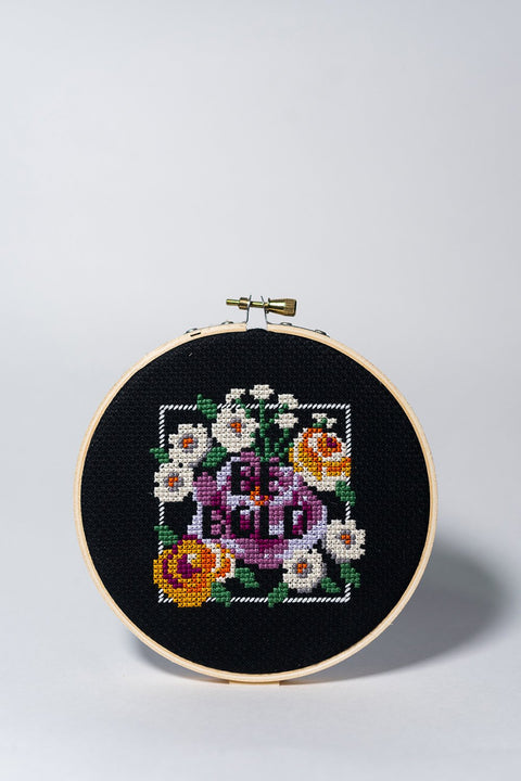 Junebug and Darlin Be Bold Cross Stitch Kit front on white