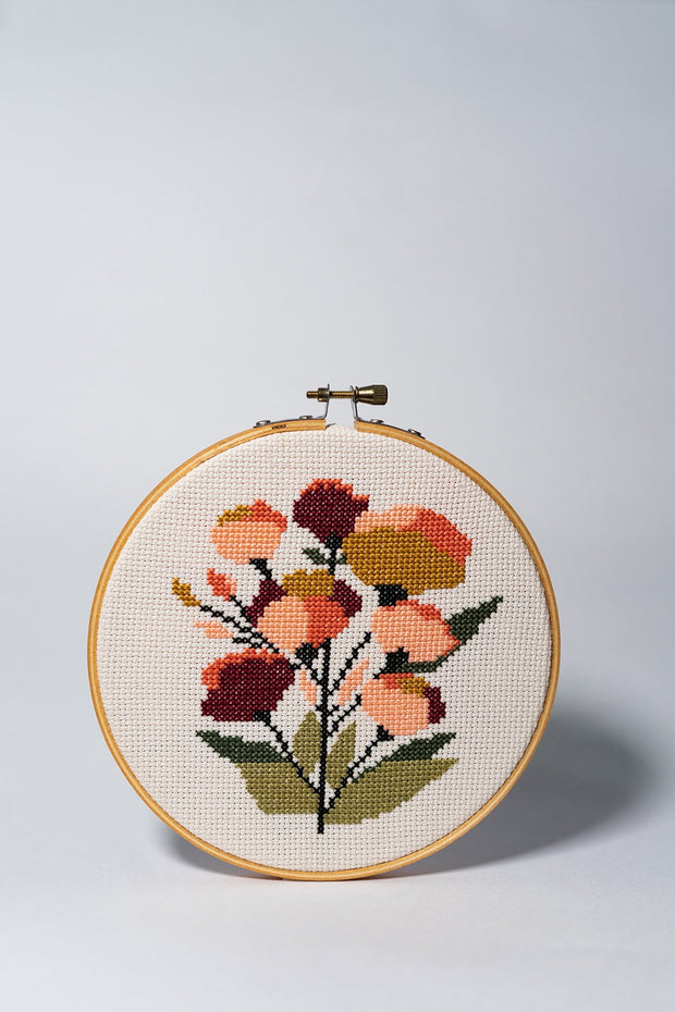 Junebug and Darlin Coral Floral Cross Stitch Kit front on white