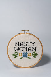 junebug and darlin Nasty Woman Cross Stitch Kit front on white