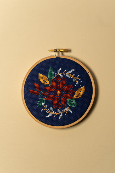 Junebug and Darlin Poinsettia Wreath Cross Stitch Kit on Color