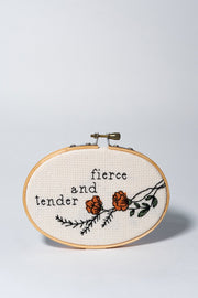 Junebug and Darlin Fierce and Tender Cross Stitch Kit front on white