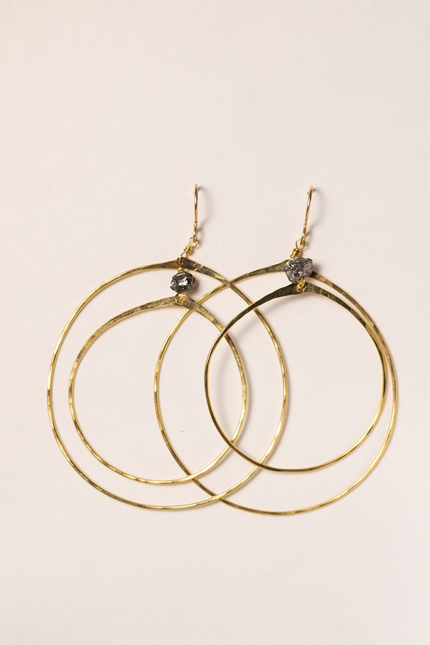 PHD Double Hoop Earrings on white background