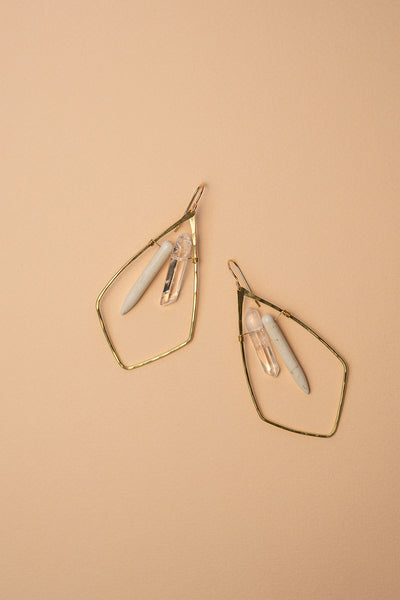 PHD Brass Quartz Howlite Shield Earrings on Color Backgrond